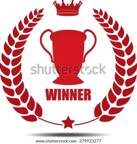 Winner, Label, Sticker or Icon Isolated on White Background.