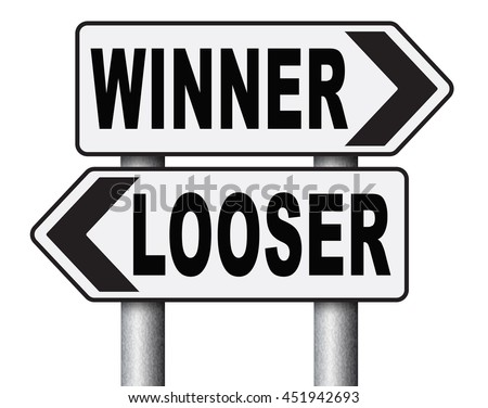winner looser win or loose the sports game or competition start winning and stop being a looser change your luck sign lottery bingo or casino victory road sign 3D illustration, isolated, on white