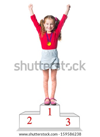 winner on a podium isolated on a white background - stock photo
