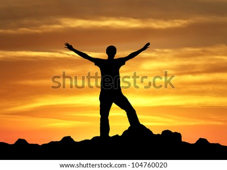 Winner on mountain summit. Sport and active life - stock photo