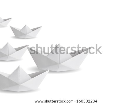 winner paper ship  - stock photo