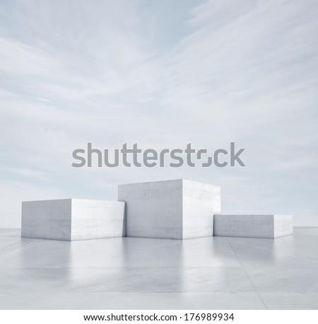 winner podium under blue sky - stock photo