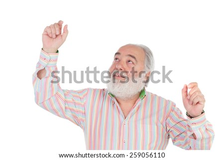Winner senior man isolated on a white background - stock photo