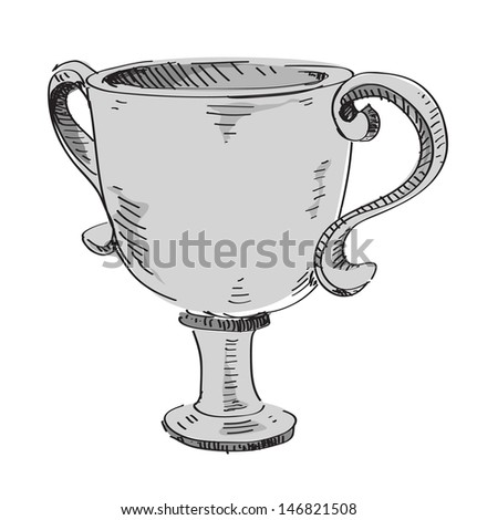 Winner silver goblet. Second place award - stock photo
