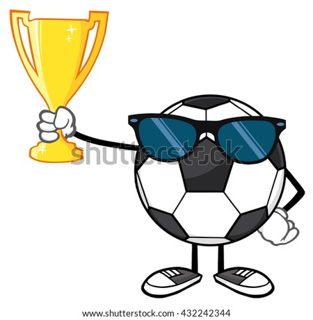 Winner Soccer Ball Faceless Cartoon Character With Sunglasses Holding A Golden Trophy Cup. Raster Illustration Isolated On White Background - stock photo