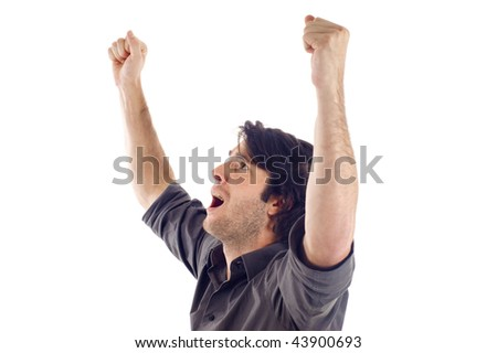 Winner / Success -  One very happy energetic businessman with his arms raised, a lot of copyspace, isolated on white