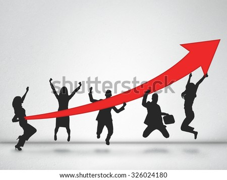 Winner team silhouette holding arrow up - stock photo