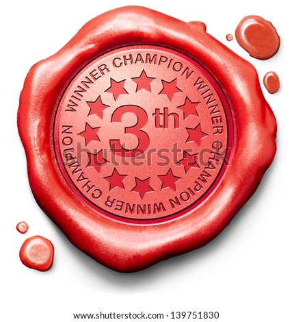 winner third place price number three 3 champion red wax seal stamp
