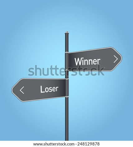 Winner vs loser choice concept road sign on blue background - stock photo