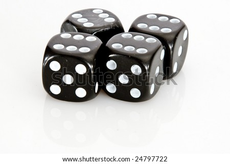 Winner with four six on black dices with white background - stock photo