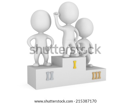 Winners on sports podium for the first, second and third place isolated on white. Stylized white people raise hands up.  3D render.