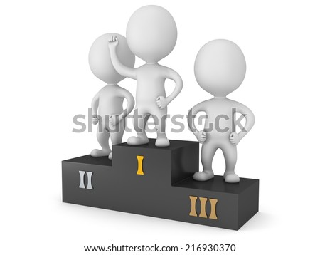 Winners on sports podium for the first, second and third place isolated on white. Stylized white people raise hands up