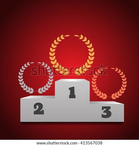 Winners podium  background illustration - stock photo