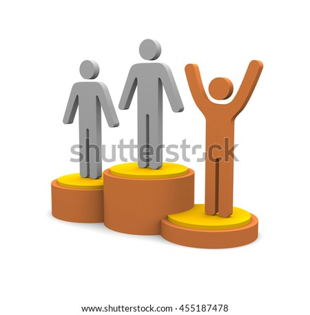 Winners podium isolated on white background. 3d render