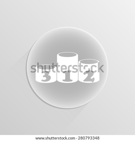Winners podium, pedestal. illustration on a white button with shadow  - stock photo