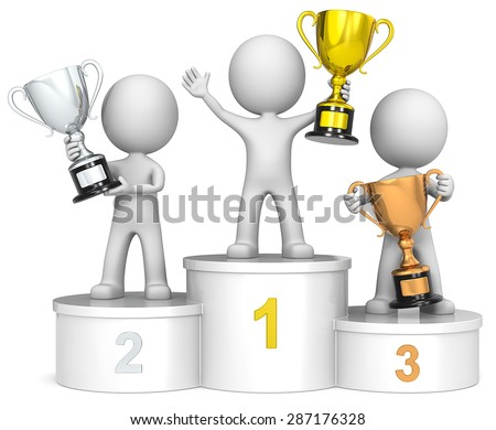 Winners podium. The dude 3D characters on winners podium holding trophies. - stock photo