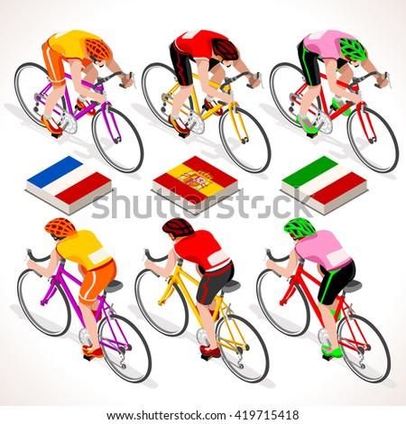 Winners t Shirt Vuelta de Espana Spain. Tour de France racing cyclist. Giro di Italia riding bicycle path. Isometric bicycle race Cycling icon. Winner Red Shirt. Winning Bicyclist Podium Goal - stock photo