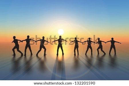 Winning and successful team with joint mission and common goal - stock photo
