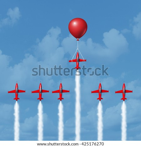 Winning business tools and successful strategy concept as a group of competitive jet airplanes racing up with one individual that is helped by a balloon as the winner as a 3D illustration. - stock photo