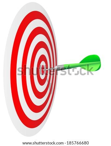 Winning concept. Dart's hit the bulls eye isolated on white background. - stock photo