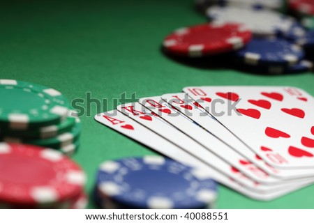 Winning hand in poker royal flush with gambling chips