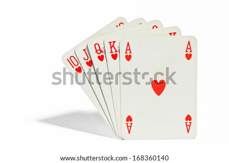 Winning hand of playing cards in poker showing a royal flush or straight flush in the suit of hearts ace through ten - stock photo