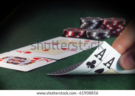 Winning hand with two aces (all in stack)