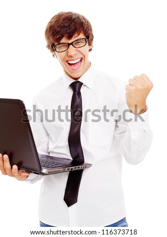 Winning latin college student with laptop in his hand. Isolated on white background, mask included - stock photo