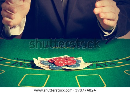 Winning poker player. Horizontal image. Vintage style.