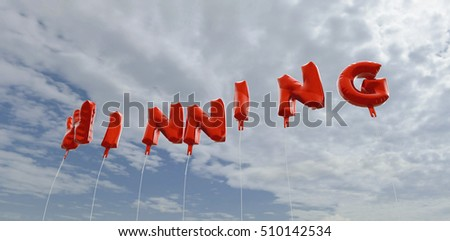WINNING - red foil balloons on blue sky - 3D rendered royalty free stock picture. This image can be used for an online website banner ad or a print postcard.