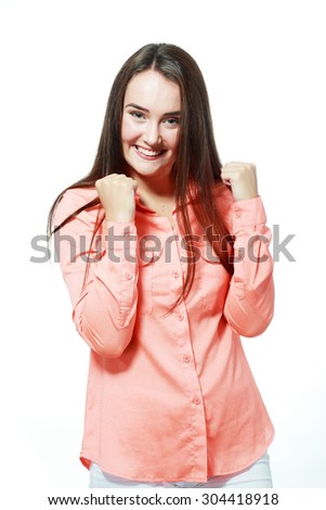 Winning success woman happy ecstatic celebrating being a winner. - stock photo