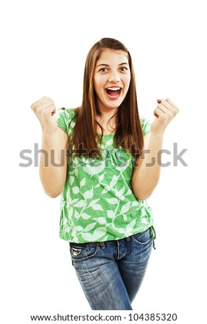 Winning success woman happy ecstatic celebrating being a winner. Isolated over white background - stock photo