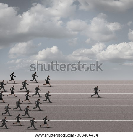 Winning the race business concept as a group of businesspeople running together with an individual businessman breaking away from the pack heading towards the finnish line as a success metaphor. - stock photo