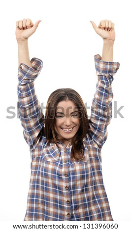 Winning woman happy ecstatic celebrating being a winner - stock photo