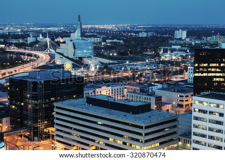 Winnipeg panorama at night. Winnipeg, Manitoba, Canada. - stock photo
