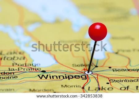Winnipeg pinned on a map of Canada  - stock photo