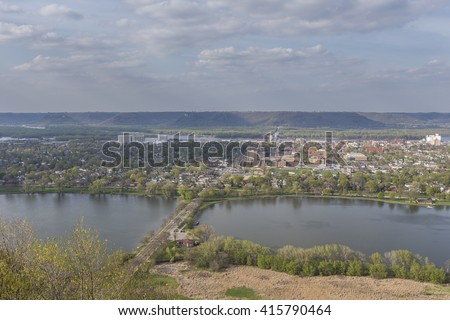 Winona Overlook / A panoramic view of a town along the Mississippi River.