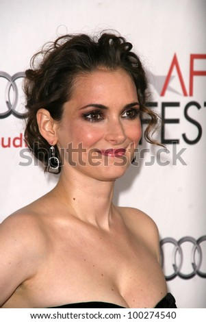 """Winona Ryder at the AFI Fest 2010 Closing Night Gala Screening of """"Black Swan,"""" Chinese Theater, Hollywood, CA. 11-11-10 - stock photo"""