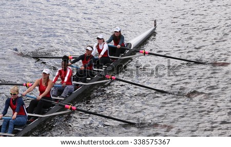 Winsor BOSTON - OCTOBER 18, 2015: races in the Head of Charles Regatta Women's Youth Eights [PUBLIC RACE]