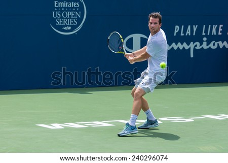WINSTON-SALEM, NC, USA - AUGUST 19: Adrian Mannarino plays on center court at the Winston-Salem Open on August 19, 2014 in Winston-Salem, NC, USA - stock photo