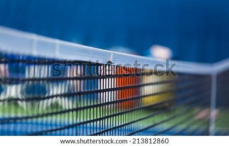 WINSTON-SALEM, NC, USA - AUGUST 18: Let-check sensor on an ATP net on August 18, 2014 in Winston-Salem, NC, USA - stock photo