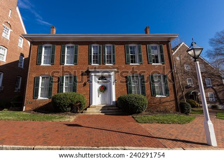 WINSTON-SALEM, NC, USA - DECEMBER 27:Lehman Hall, built in 1892, at Salem College on December 17, 2014 in Winston-Salem, NC, USA - stock photo