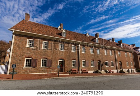 WINSTON-SALEM, NC, USA - DECEMBER 27:Single Sisters House, built in 1785, at Salem College on December 17, 2014 in Winston-Salem, NC, USA - stock photo