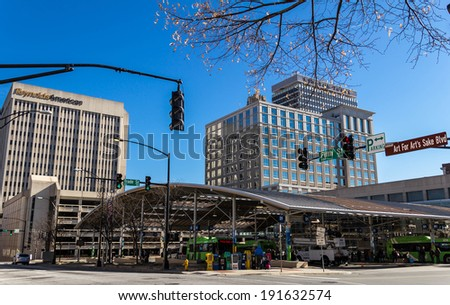 WINSTON-SALEM, NC, USA DECEMBER 16: WSTA Transportation Center at Fifth and Trade on December 16, 2013 in Winston-Salem, NC. - stock photo