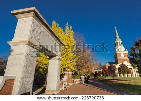 "WINSTON-SALEM, NC, USA - NOVEMBER 7: Hearn Plaza, also known as the ""Upper Quad"" at Wake Forest University, on November 7, 2014 in Winston-Salem, NC, USA - stock photo"