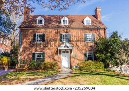 WINSTON-SALEM, NC, USA - NOVEMBER 30:Mary Lizora Fortune Hanes House, built in 1930, at Salem College  on November 30, 2013 in Winston-Salem, NC, USA - stock photo