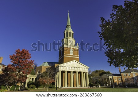 WINSTON-SALEM, NC, USA - NOVEMBER 7:Wait Chapel and Hearn Plaza atl Wake Forest University on November 7, 2014 in Winston-Salem, NC, USA. - stock photo