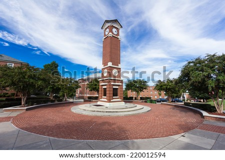 WINSTON-SALEM, NC, USA - SEPTEMBER 27: Clock Tower at Winston-Salem State University on September 27, 2014 in Winston-Salem, NC, USA - stock photo