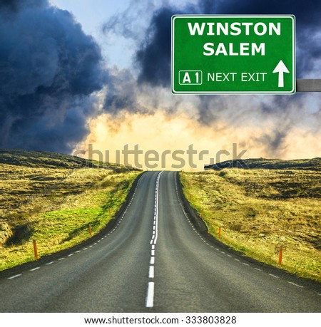 WINSTON SALEM road sign against clear blue sky - stock photo