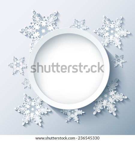 Winter abstract modern background with 3d white and grey snowflakes, trendy round frame. Christmas and New Year stylish card with place for text. Raster illustration - stock photo